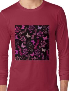 Watercolor Floral and Butterfly  Long Sleeve T-Shirt