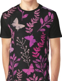 Watercolor Floral and Butterfly  Graphic T-Shirt