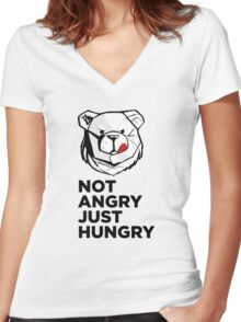 ROBUST Not angry just hungry Women's Fitted V-Neck T-Shirt