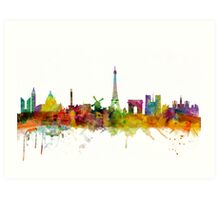 Paris France Skyline Cityscape Art Print