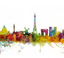 Paris France Skyline Cityscape by Michael Tompsett