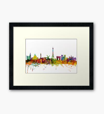 Paris France Skyline Cityscape Framed Print