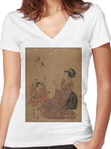 A modern allegory of the Chinese sage Zhang Guo lao - Toyohiro Utagawa - 1795 Women's Fitted V-Neck T-Shirt