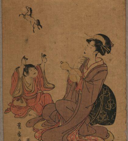 A modern allegory of the Chinese sage Zhang Guo lao - Toyohiro Utagawa - 1795 Sticker