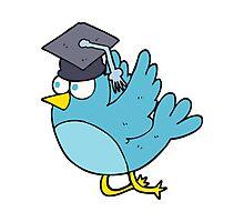 cartoon bird wearing graduation cap Photographic Print