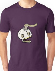 cartoon axe in skull Unisex T-Shirt