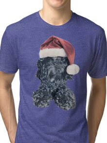 Cockapoo in a Christmas Santa Hat (White) Tri-blend T-Shirt