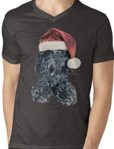 Cockapoo in a Christmas Santa Hat (White) Mens V-Neck T-Shirt