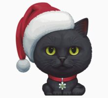 Funny Cute Black Cat Wearing Santa Hat Kids Tee