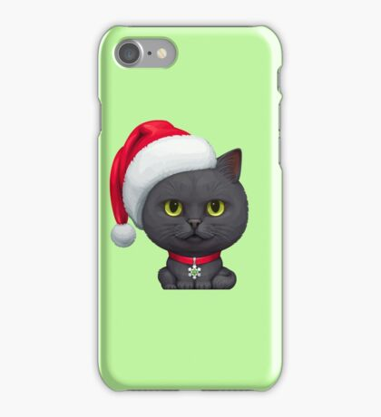 Funny Cute Black Cat Wearing Santa Hat iPhone Case/Skin
