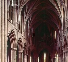 Nave from west end Pershore Abbey Pershore England 198405140047 by Fred Mitchell