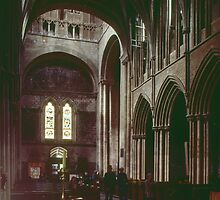 From altar area looking back to west end and transept Pershore Abbey Pershore England 198405140048 by Fred Mitchell