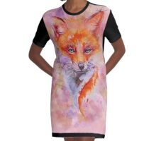 Watercolor colorful Fox Graphic T-Shirt Dress