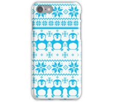 Blue Scandinavian Penguin Holiday Design iPhone Case/Skin
