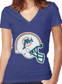miami dolphin Women's Fitted V-Neck T-Shirt
