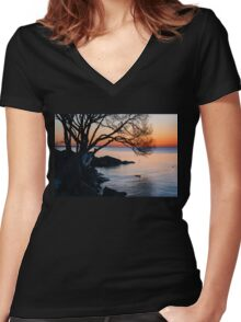 Just Before Sunrise - Bright Cold and Colorful on the Lakeshore Women's Fitted V-Neck T-Shirt
