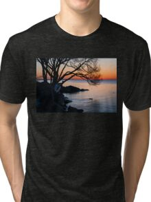 Just Before Sunrise - Bright Cold and Colorful on the Lakeshore Tri-blend T-Shirt