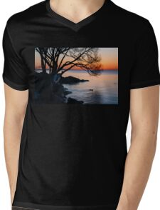 Just Before Sunrise - Bright Cold and Colorful on the Lakeshore Mens V-Neck T-Shirt