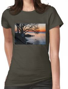 Just Before Sunrise - Bright Cold and Colorful on the Lakeshore Womens Fitted T-Shirt