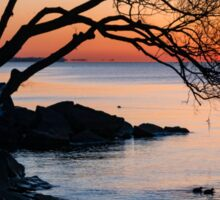 Just Before Sunrise - Bright Cold and Colorful on the Lakeshore Sticker