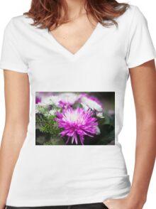 Chrysanthemum flower  Women's Fitted V-Neck T-Shirt