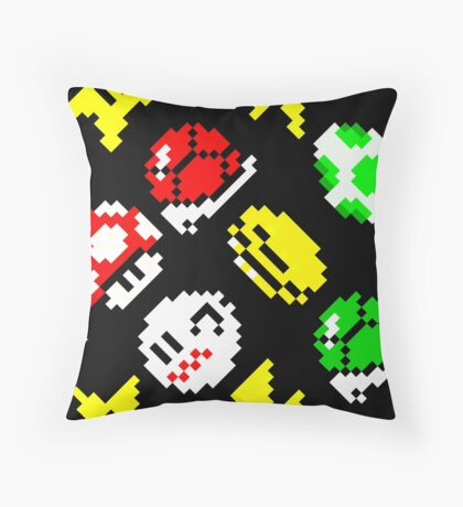 Super Mario Kart / items pattern / black Throw Pillow