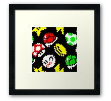 Super Mario Kart / items pattern / black Framed Print