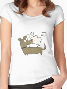 cartoon happy dog Women's Fitted Scoop T-Shirt