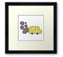 cartoon yellow school bus Framed Print