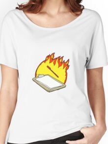 cartoon clip board on fire Women's Relaxed Fit T-Shirt