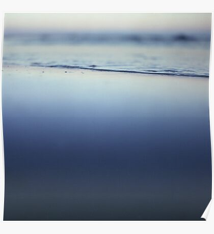 Mediterranean sea at low tide on beach Ibiza Spain dusk sunset evening colors square film analogue photo Poster