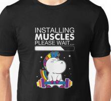 Unicorn Installing Muscles Please Wait Funny Fitness T-shirt  Unisex T-Shirt