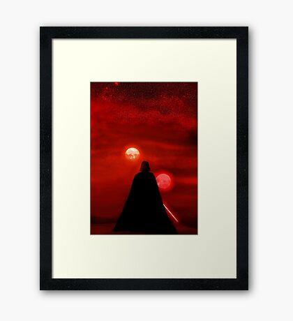 Star Wars Darth Vader Tatooine Sunset  Framed Print