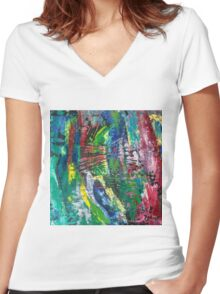 Abstract painting 10 Women's Fitted V-Neck T-Shirt