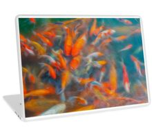 Goldfish fight for food in the ponds. Oil painting effect. Laptop Skin