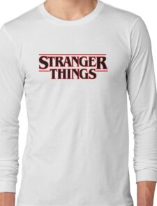 Stranger Things Classic Title :  On White Long Sleeve T-Shirt