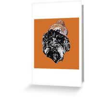 Cockapoo with a Winter Hat (Orange) Greeting Card