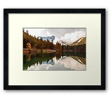 Autumn morning at the alpine lake Framed Print