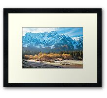 autumn sunrise at the alpine lake Framed Print