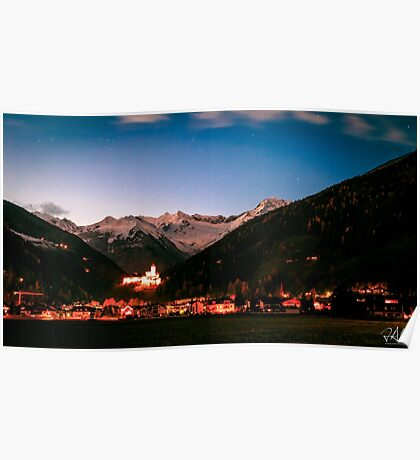 Campo Tures castle with white mountains behind Poster