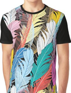 Graphic pattern multicolored feathers Graphic T-Shirt