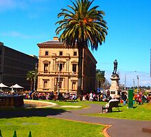 Grand Final Fever - waiting for the heroes to arrive Melb Vic Australia by Margaret Morgan (Watkins)