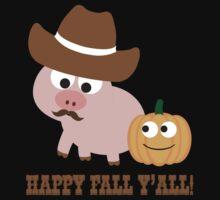 Happy Fall Y'all! Cowboy pig Kids Tee