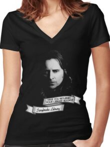 Return your Library Books or Else.... Women's Fitted V-Neck T-Shirt