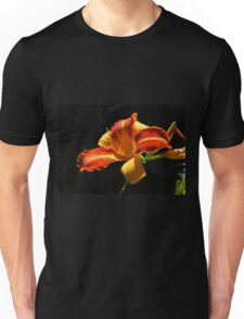 Orange Lily Against Black Unisex T-Shirt