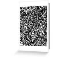 Gray Swirls Abstract Shaded Depth Zen Doodle Greeting Card