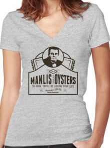 Manlis Brand Oysters T-Shirt Women's Fitted V-Neck T-Shirt