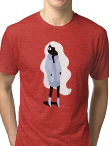 100 Days. Lady with white hair. Tri-blend T-Shirt