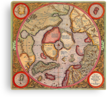 North Pole Map 1595 Canvas Print