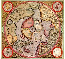 North Pole Map 1595 Photographic Print
